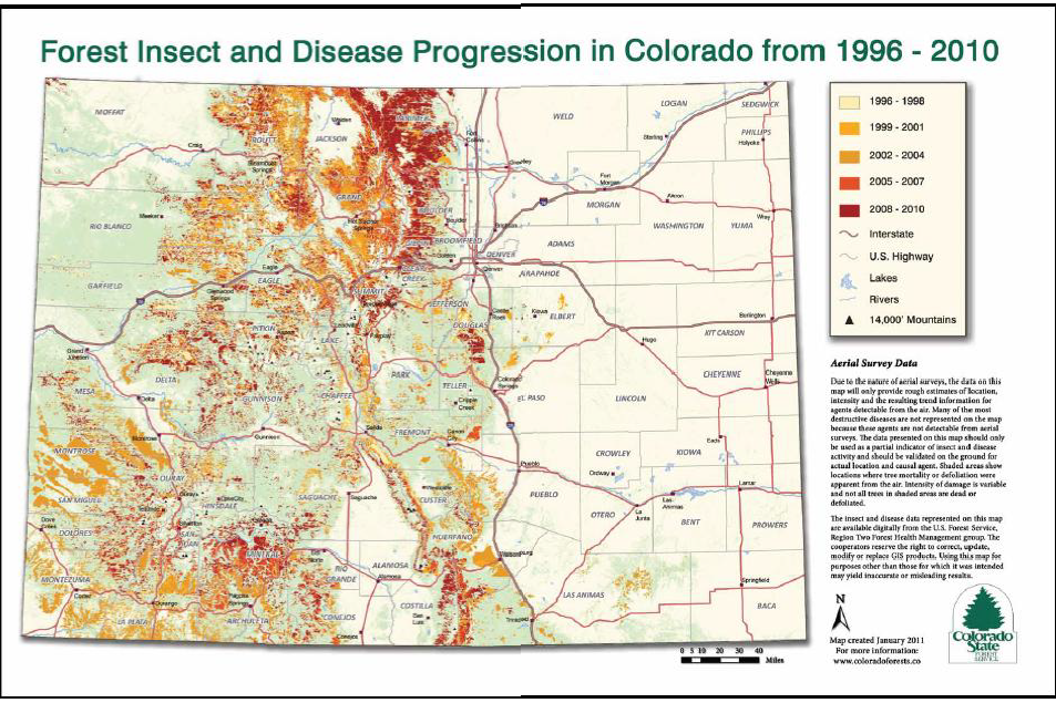 Map of Forest Insect and Disease Progression in Colorado 1996-2010