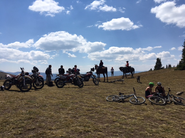 Monarch Crest Trail - Motorcyclists, bicyclists and horse riders all enjoying the Monarch Crest Trail view