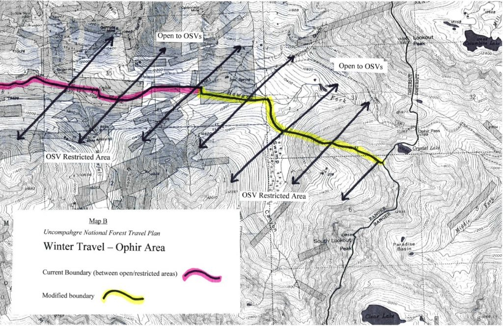 Map - Winter Travel Ophir Area