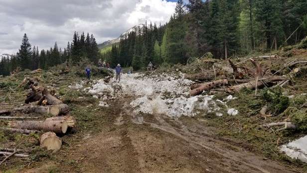 Road being cleared of snow - Restoration project on TinCup Pass on the Salida Ranger District of the Pike San Isabel NF performed by volunteers.
