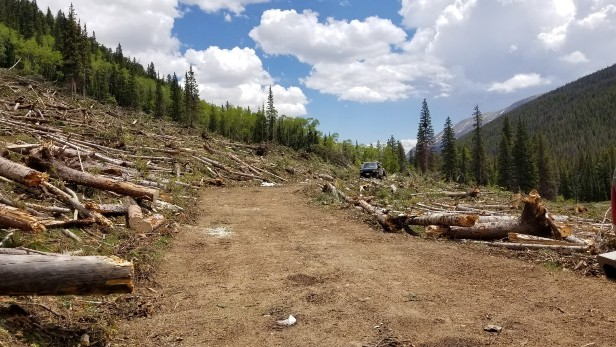 Road - Restoration project on TinCup Pass on the Salida Ranger District of the Pike San Isabel NF performed by volunteers.