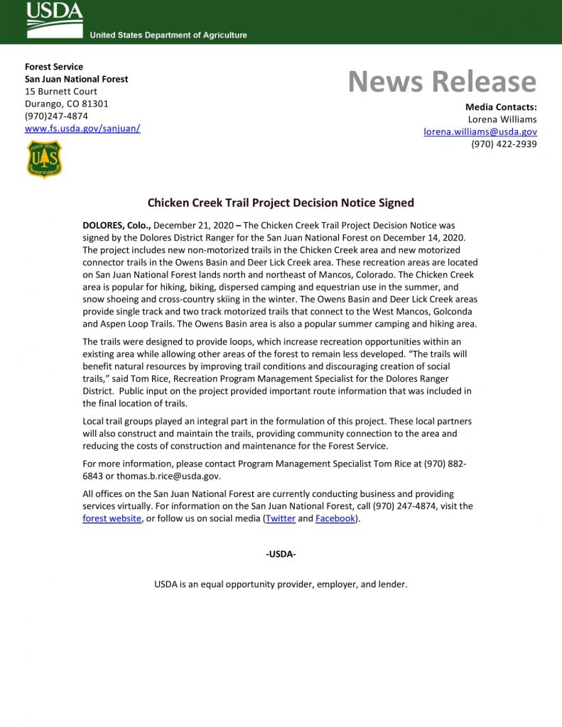 News Release from Forest Service