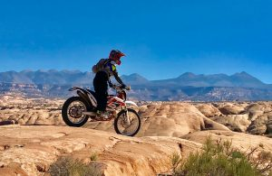 Motorcycle rider in MOAB